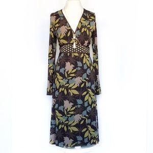 Boden Faux Wrap Midi Long Sleeve Jersey Dress 10